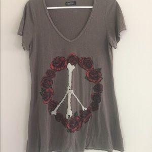 Lauren Moshi flowers & bones peace shirt Large